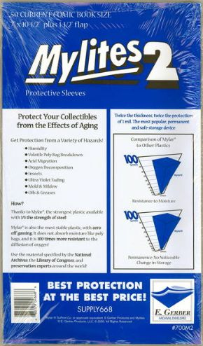 Mylites 2 Current Size Mylar Bags x50 E.Gerber Archival Storage Supply668